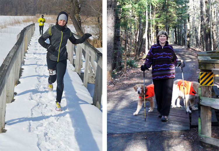 running in winter with ice trekking poles