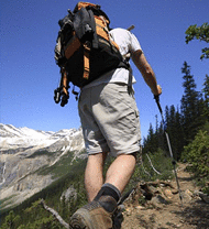 Hiker using Ice Spikes on boots