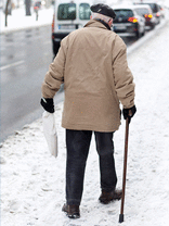 Senior Citizens using icespike to prevent slips and falls