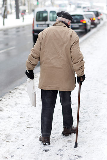 traction for walking senior in snow
